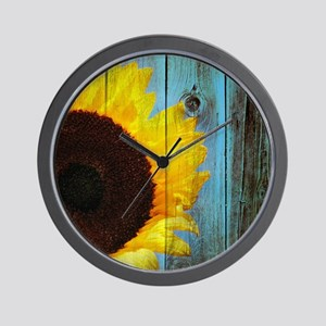 Rustic Sunflower Teal Wood Wall Clock