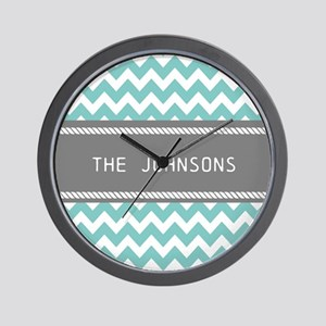 Teal Blue and Gray Modern Chevron Perso Wall Clock