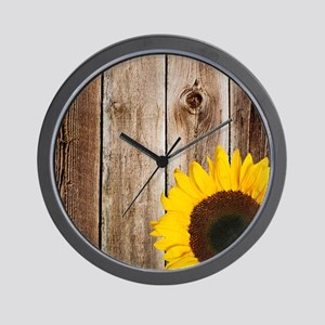 Rustic Barn Wood Sunflower Wall Clock