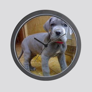 great dane blue puppy ls Wall Clock