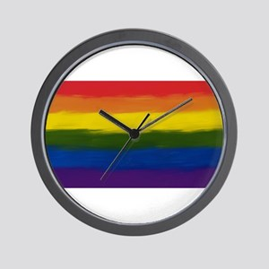 GAY PRIDE RAINBOW FLAG PAINT ART SIGNED Wall Clock