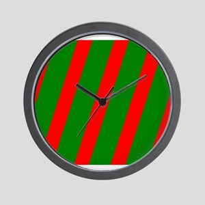 Holidays Red Green Striped Christmas 4N Wall Clock