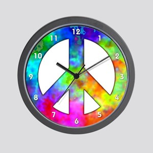 Retro Tie-Dyed Peace Sign Wall Clock