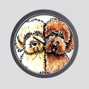 Yellow Chocolate Labradoodle Wall Clock