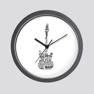 guitar word fill black music image Wall Clock