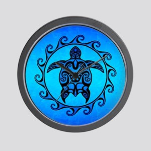 e7e903a91 Maori Ocean Blue Turtle Wall Clock