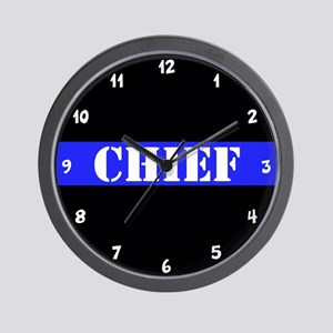 Police Chief Thin Blue Line Wall Clock