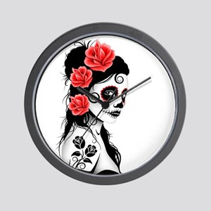 79dcf569a Day of the Dead Girl White Wall Clock