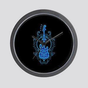 Intricate Blue Bass Guitar Design on Black Wall Cl
