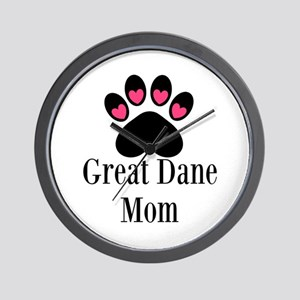 Great Dane Mom Paw Print Wall Clock