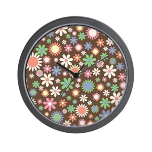 Funky Floral Pattern Wall Clock