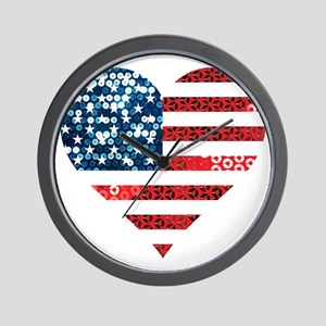 usa flag heart Wall Clock