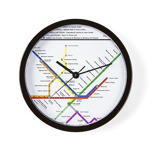 Subway Map Wall Art Wall Art Stickers Wall Decal Huge Underground Tube Map.Metropolitan Transportation Detroit Tra Wall Clock