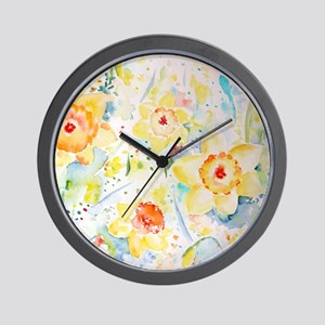 Watercolor yellow flowers daffodils pat Wall Clock