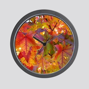 Autumn Leaves 97M Red Colorful Fall Tre Wall Clock