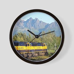 Alaska Railroad locomotive engine & mou Wall Clock