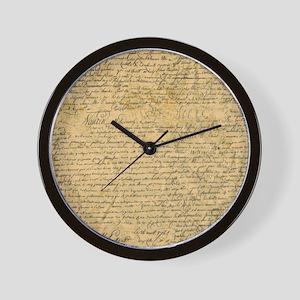 Old Manuscript Wall Clock
