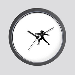 Girl Fencer Lunging Wall Clock