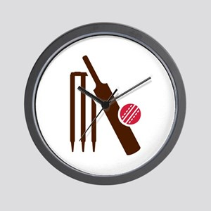 Cricket bat stumps Wall Clock