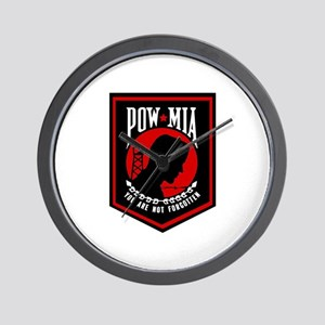 POW MIA (Red) Wall Clock