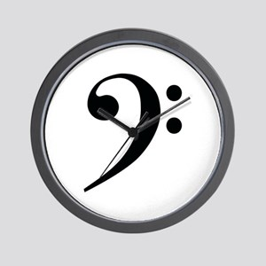 Bass Clef in Gold Wall Clock