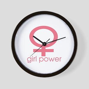 Girl Power Light Pink Wall Clock