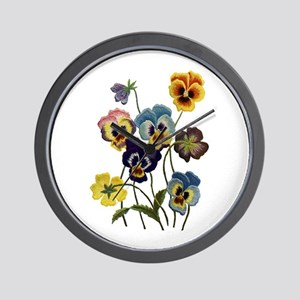 PARADE OF PANSIES Wall Clock