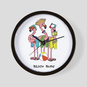 Flamingo Beach Bums Wall Clock