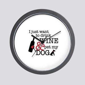 Wine and Dog Wall Clock
