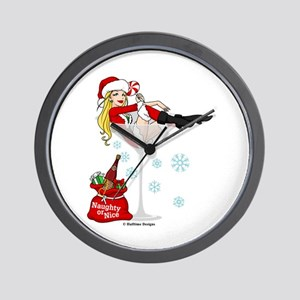 Santa Girl Martini Wall Clock