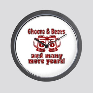 Cheers And Beers 66 And Many More Years Wall Clock