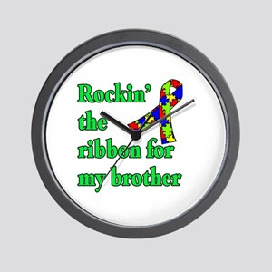 Autism Ribbon for My Brother Wall Clock