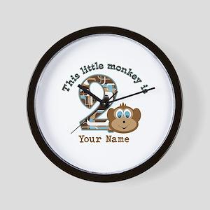 2nd Birthday Monkey Personalized Wall Clock