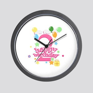 2nd Birthday with Balloons - Pink Wall Clock