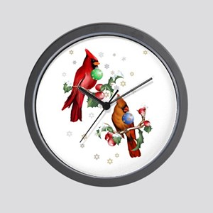 Two Christmas Birds Wall Clock