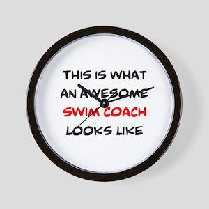 awesome swim coach Wall Clock