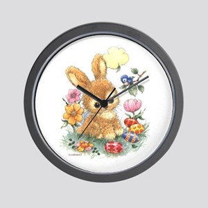 Cute Easter Bunny With Flowers And Eggs Wall Clock