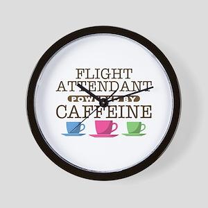 Flight Attendant Powered by Caffeine Wall Clock