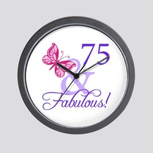 75th Birthday Butterfly Wall Clock