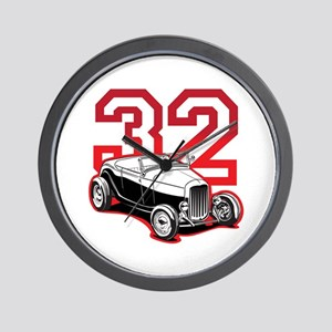 '32 Roadster in Red Wall Clock