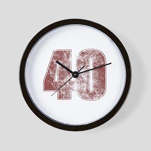 40th Birthday Red Grunge Wall Clock