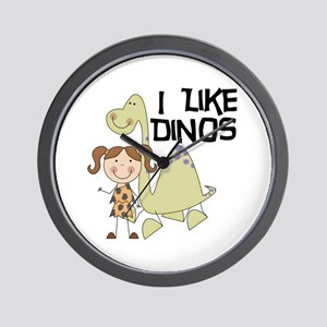 Girl I Like Dinos Wall Clock