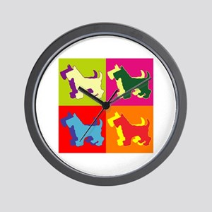 Scottish Terrier Silhouette Pop Art Wall Clock
