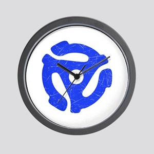 Blue Distressed 45 RPM Adapter Wall Clock