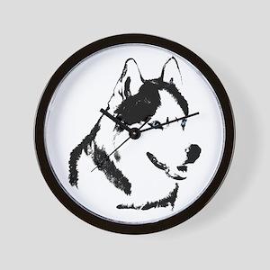Siberian Husky Clock Sled Dog Wall Clock