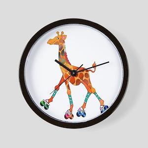 Roller Skating Giraffe Wall Clock