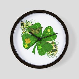 Fancy Irish 4 leaf Clover Wall Clock