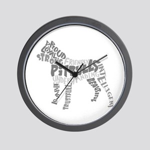 Pit Bull Word Art Greyscale Wall Clock