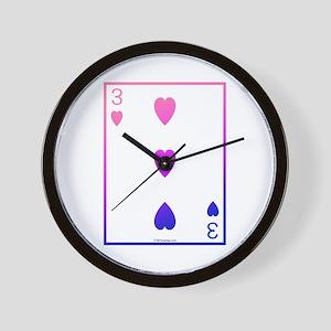 bi colored 3 of hearts Wall Clock