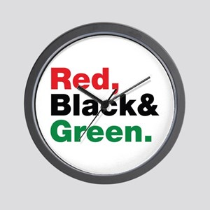 Red, Black and Green. Wall Clock
